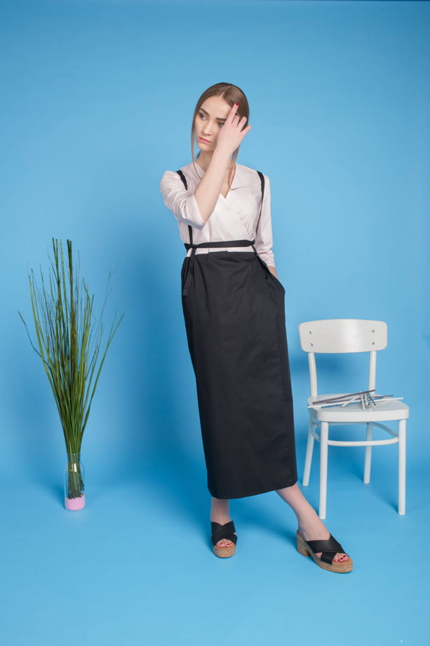 Платье-халат с длинными поясками