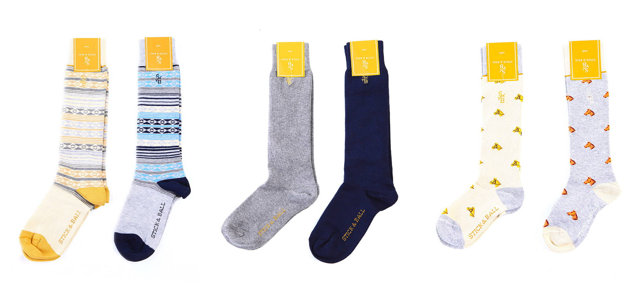 Collection of Stick & Ball Equestrian-inspired boot socks in solid colors, pampa & horse head designs