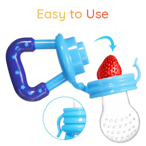Easy to use SuperTots Food Pacifier with safe clip lock to secure the strawberry placed inside