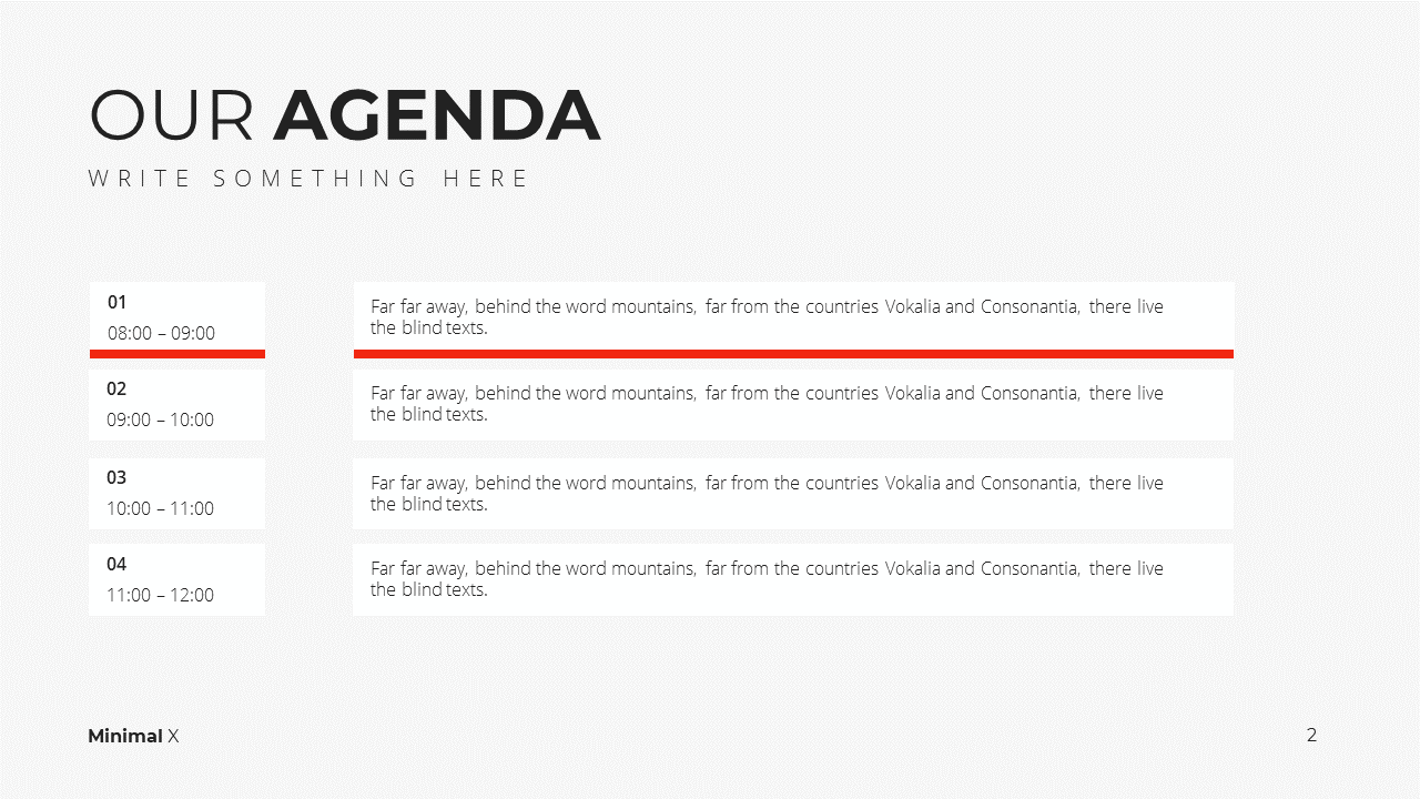 Minimal X Presentation Template Business Plan Agenda