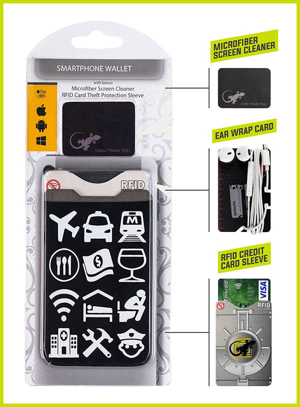 Adhesive Phone Wallet by gecko with travel icons, just point and communicate.