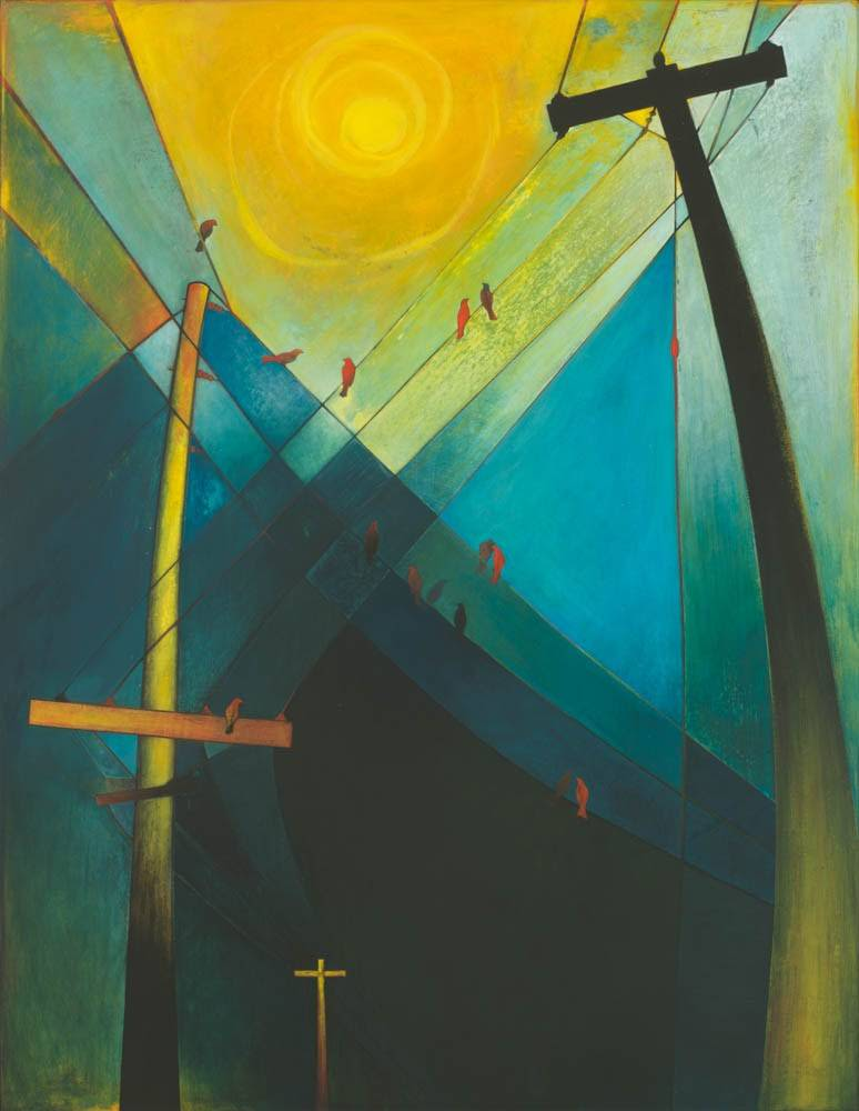 Modern, symbolic painting showing birds approaching the sun on different telephone pole wires.