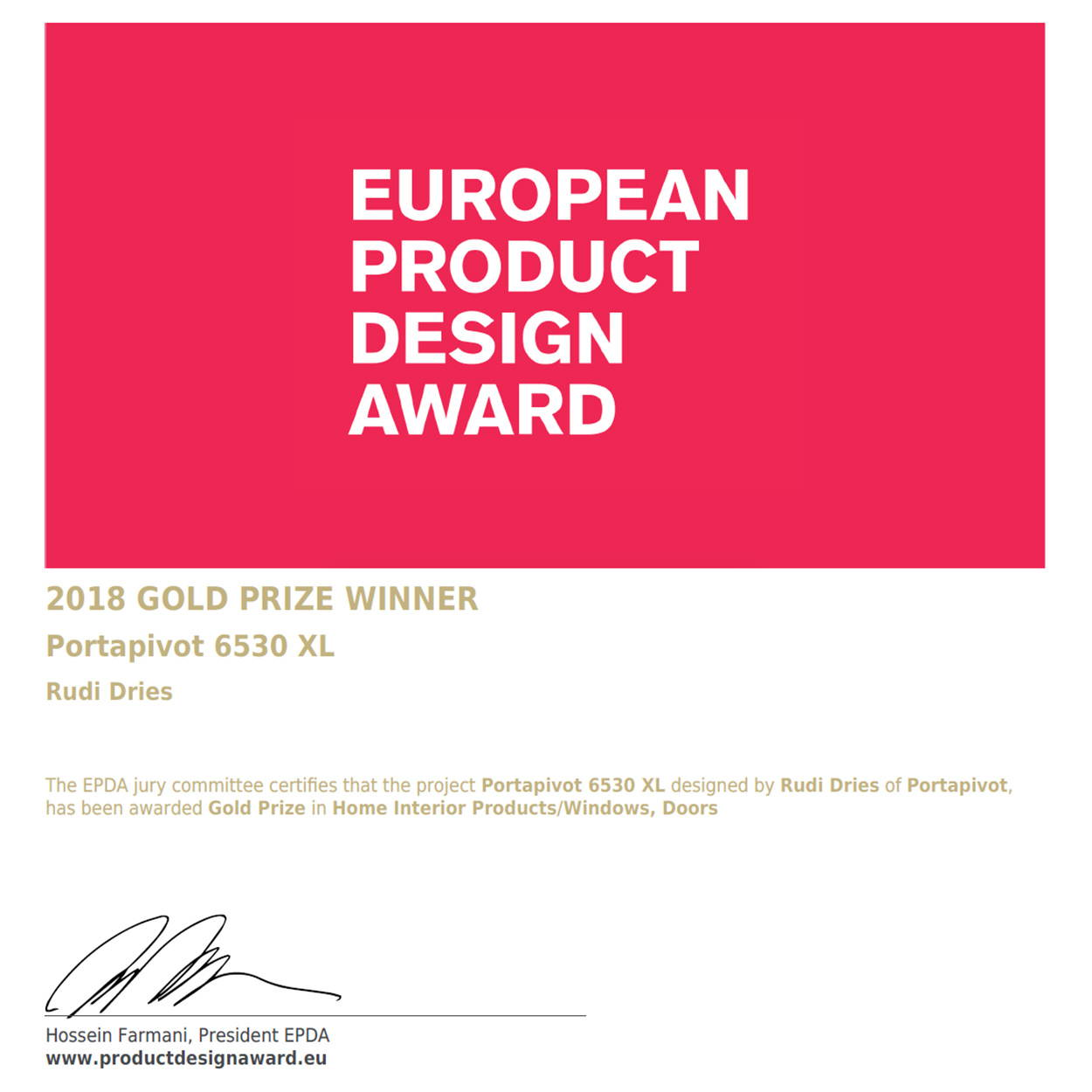 Portapivot European product design award 2018 gold prize winner certificate