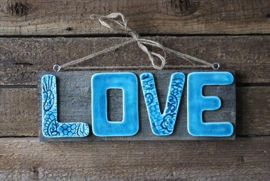 "Слово LOVE ""Оттенки моря"" №6"