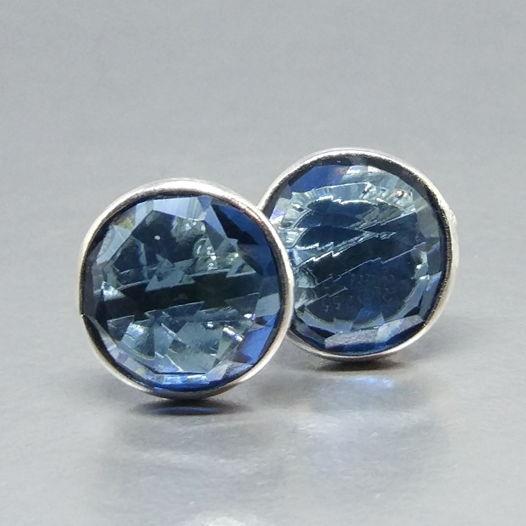 Серьги - гвоздики синий топаз серебро 925