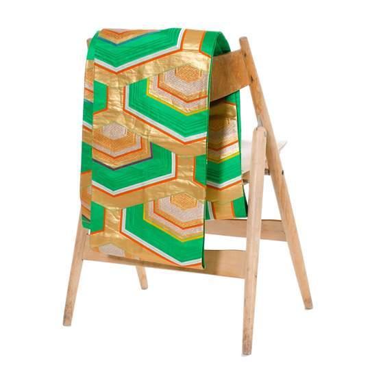 green silk fukuro obi with gold accents