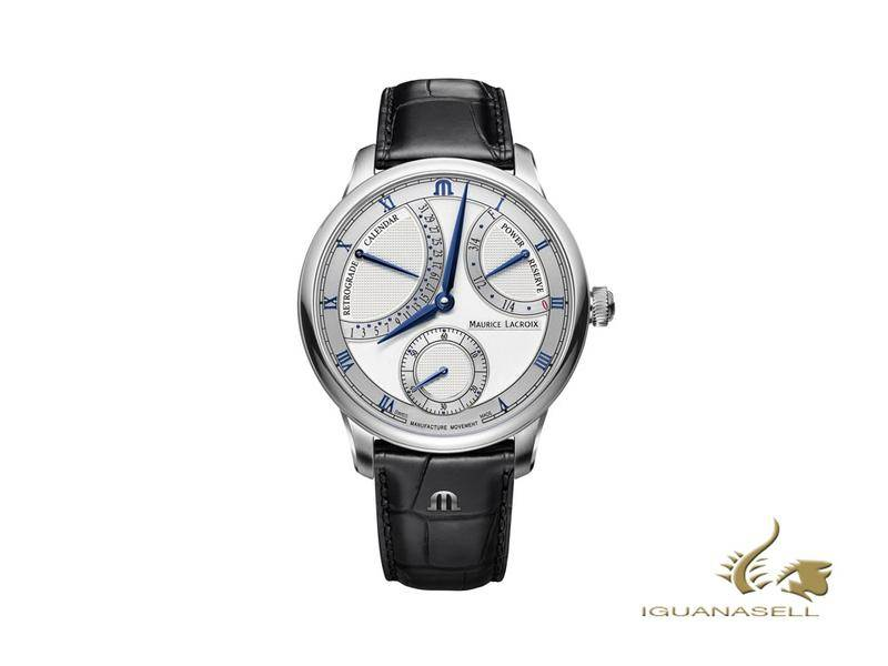 Maurice Lacroix Masterpiece Retrograde, silver and blue, manufacture