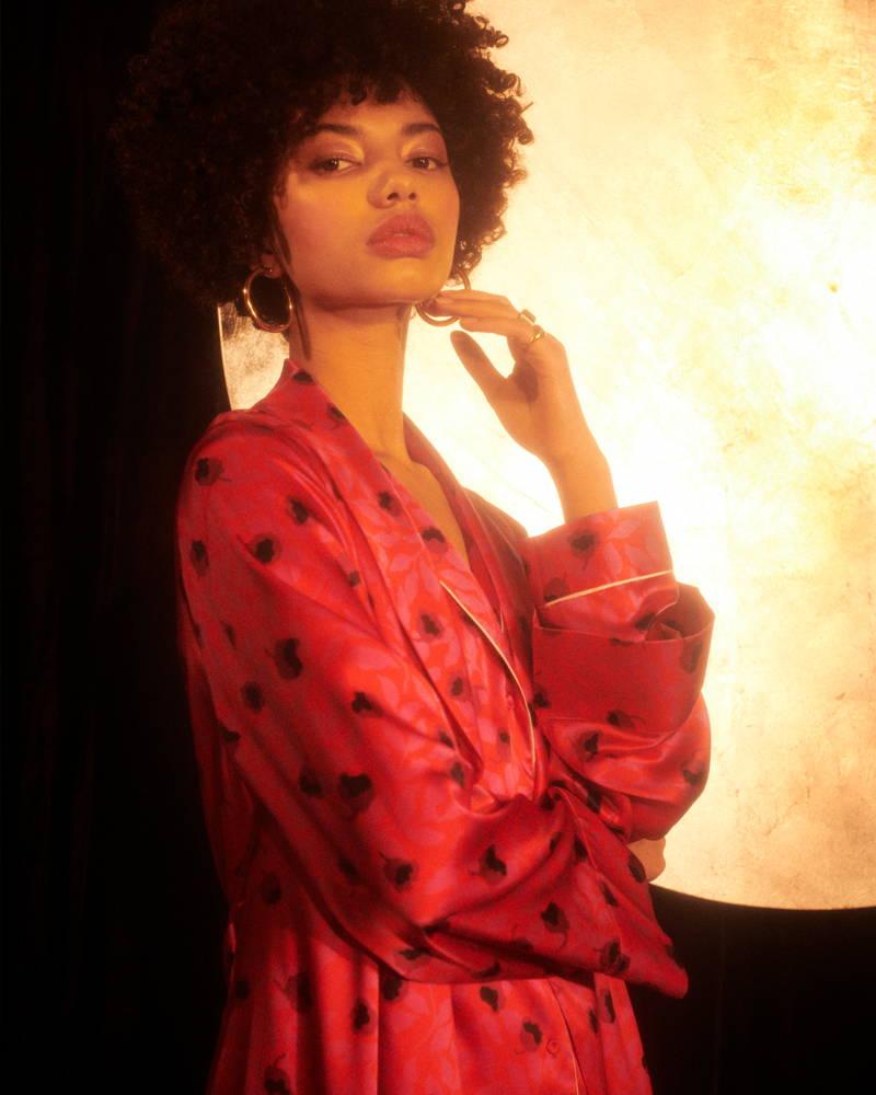 YOLKE Cerise Classic Silk Pyjama Set & Dressing Gown