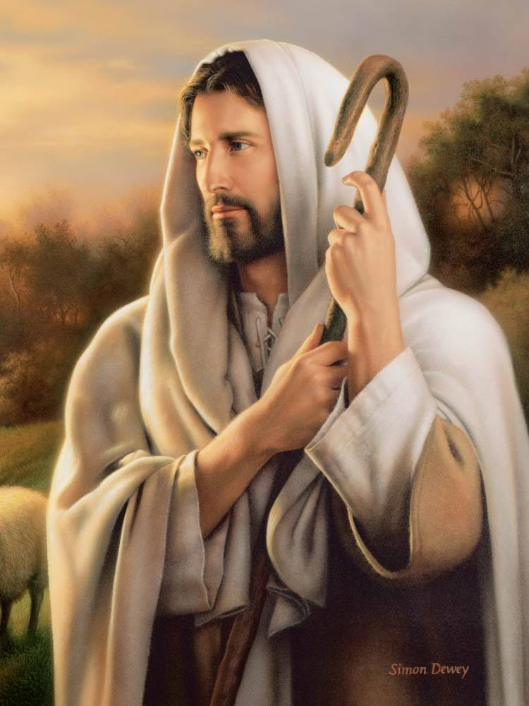 Beautiful painting of Jesus Christ holding a shepherd's staff.
