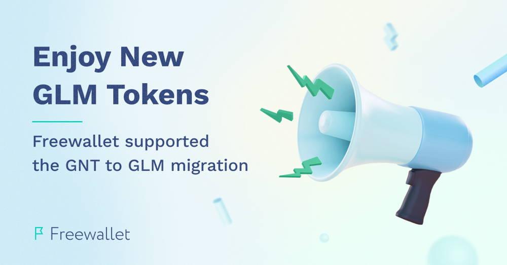 illustration of a megaphone with information about gnt/glm token migration