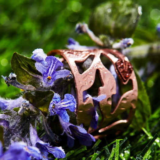 Кольцо из серебра 925 пробы покрытое розовым золотом 14К