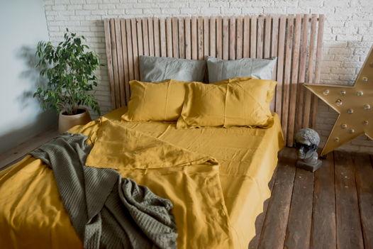 ГОРЧИЧНЫЙ набор постельного белья из 100% льна умягчённого