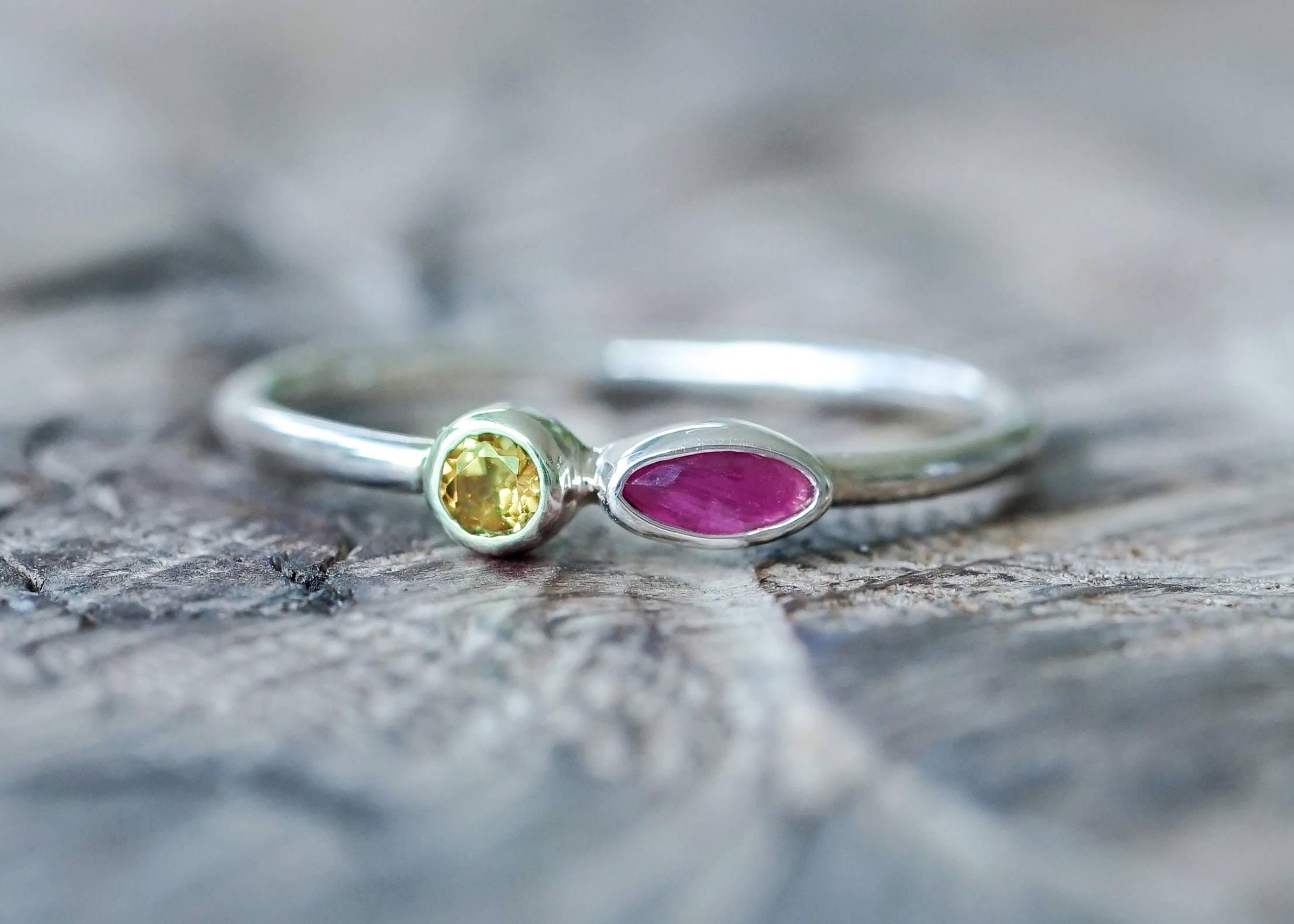 Custom Double Birthstone Ring