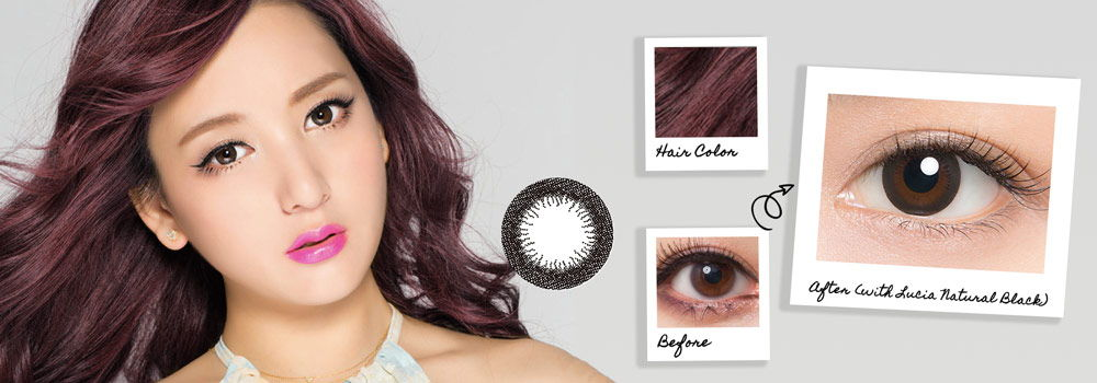Black circle lenses are a good match for brightly colored hair like pink, purple or blue