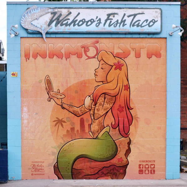 Exterior Vinyl Wall Wrap - Wahho's Fish Taco - Ink Monstr Mermaid