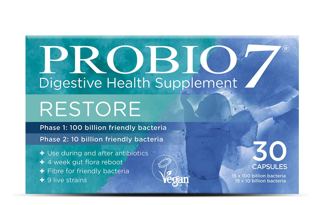 Probio7 Restore. A 4-week course of friendly bacteria to be taken during and after antibiotic treatment to reboot and replenish your gut microbiome.