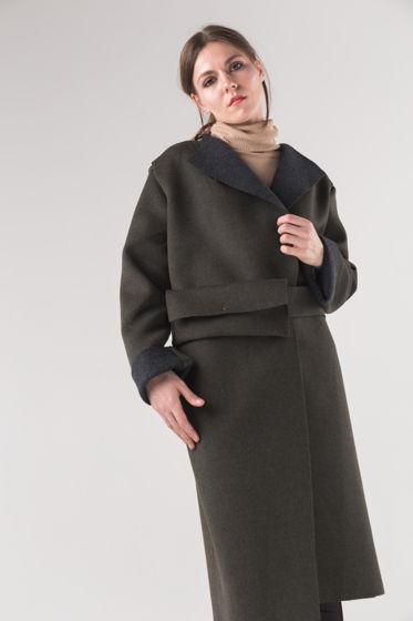Шерстяное пальто-бушлат ЖЕРАЛЬДИН с шерстяным клатчем