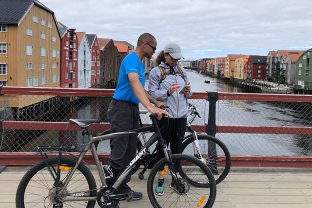 See beautiful Trondheim and the fjord from the bike seat!