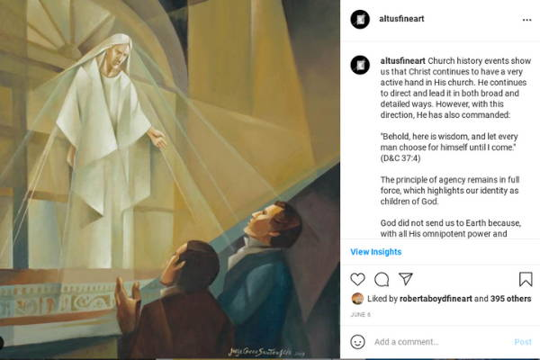 Instagram post featuring a Jorge Cocco painting of an angel appearing to Joseph Smith and Oliver Cowdery.