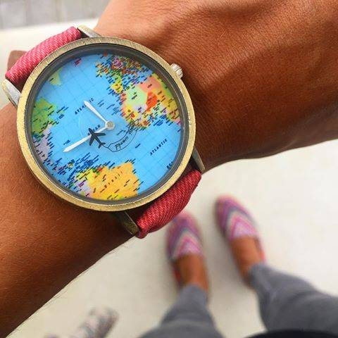Amazing world map travel watch with 7 stylish color choices this watch features a large face with a world map background with a plane every gumiabroncs Image collections