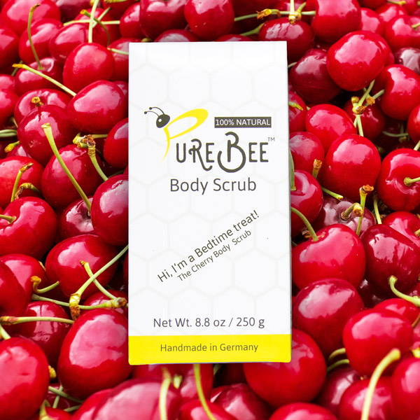 Hi, I'm a Bedtime treat - the Cherry Body Scrub box in front of Cherries