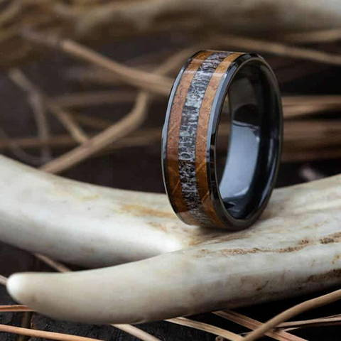 deer antler oak wood ring black ceramic