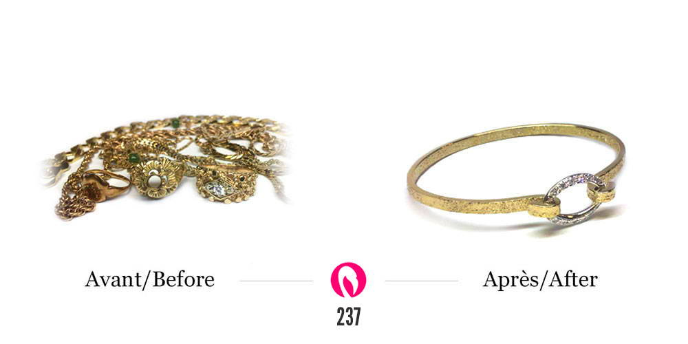 Transformation de beaucoup de vieux bijoux de familles en un bracelet rigide deux tons