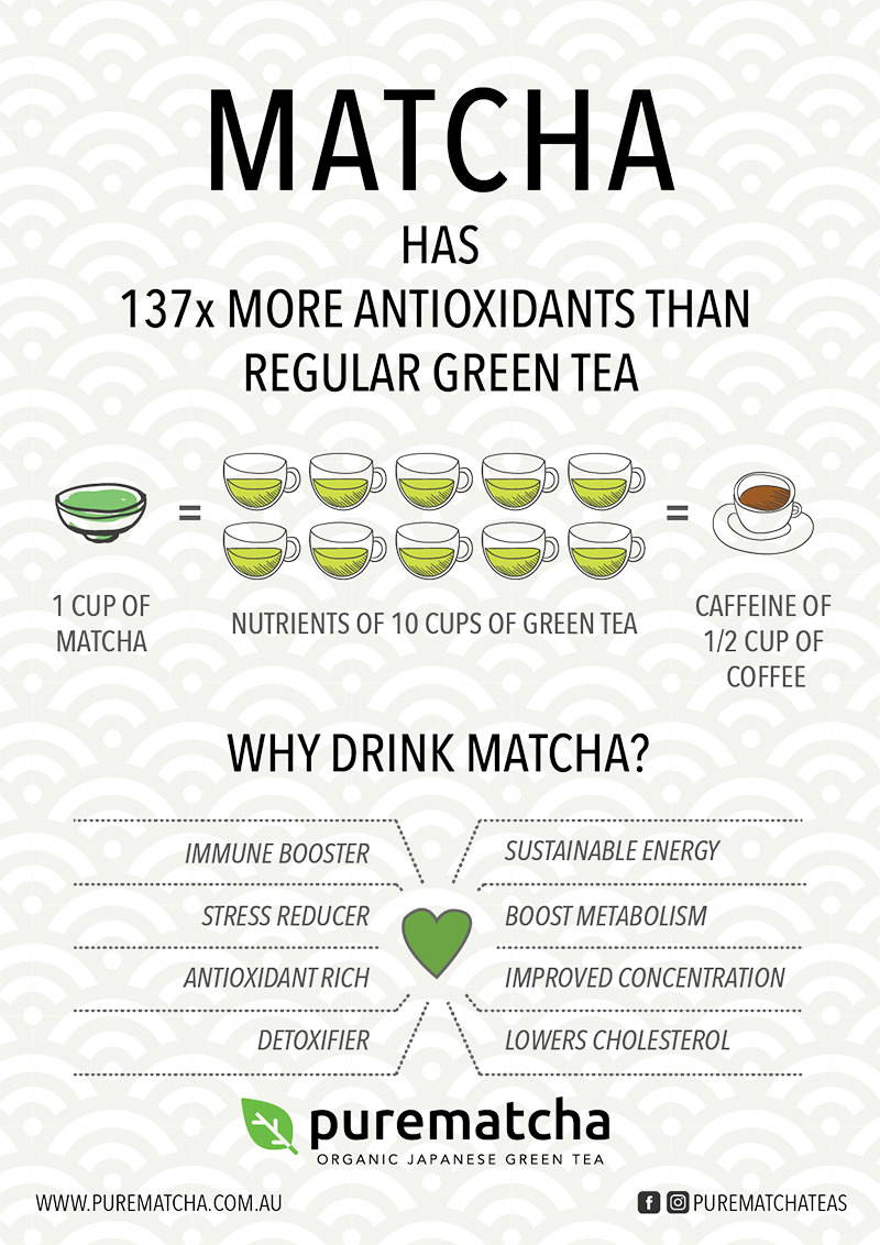 Matcha health benefits infographic