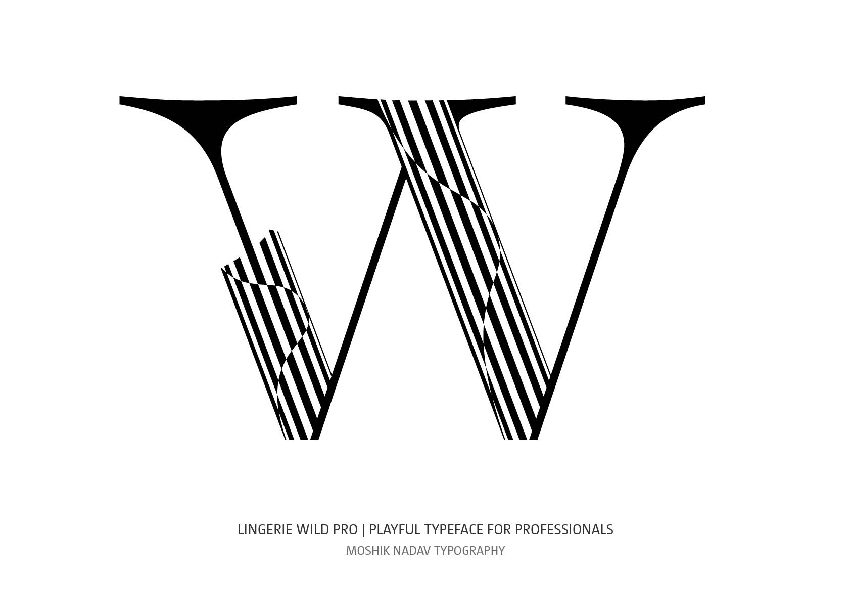 Beautiful W letter designed with Lingerie Wild Pro Typeface by Moshik Nadav Fashion Typography