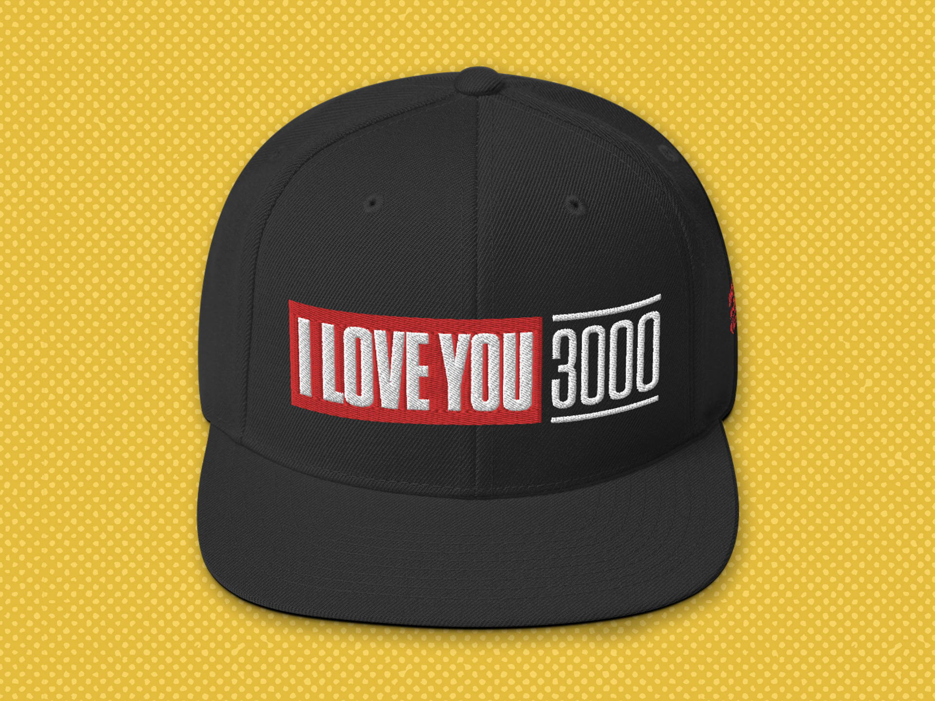 """I Love You 3000"" black snapback hat"