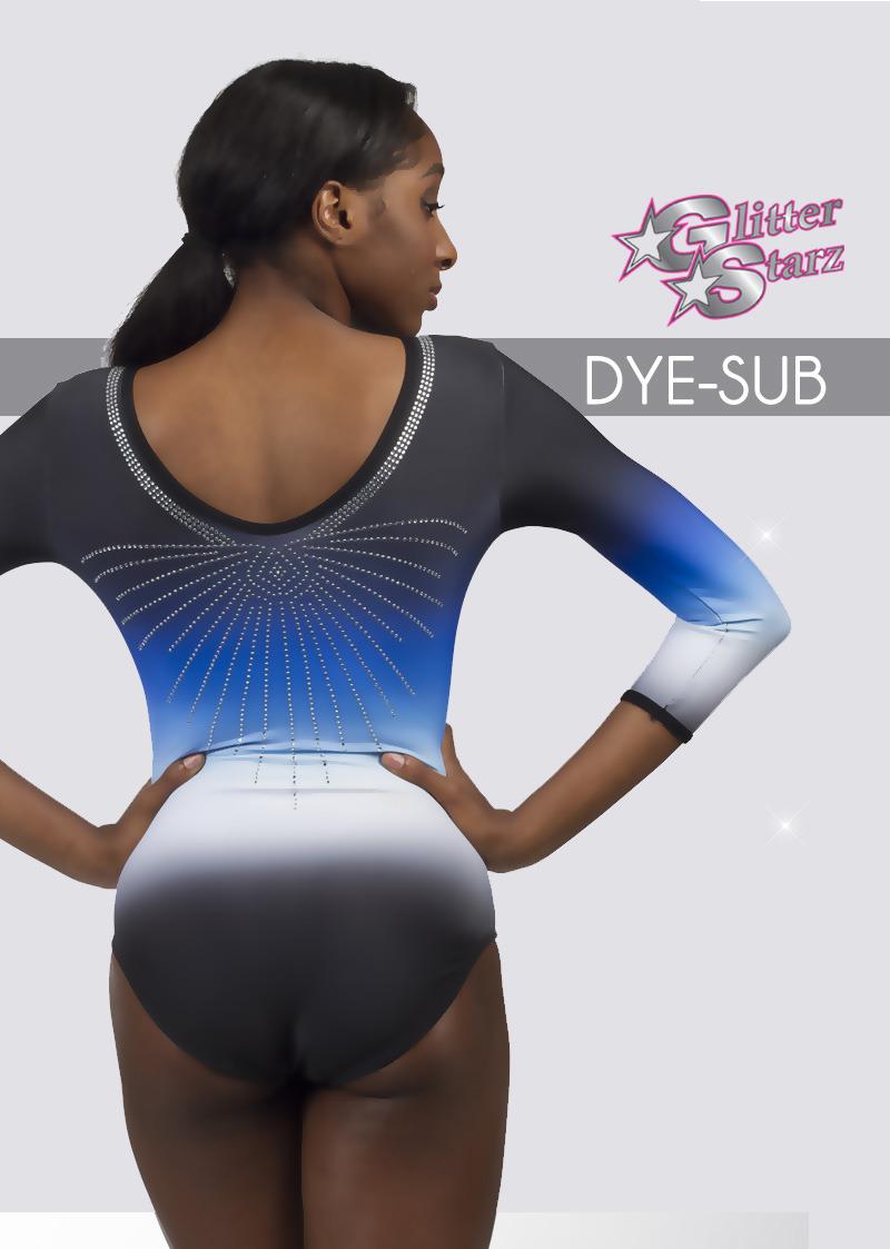 glitterstarz custom leotard blue dyesub dye stretchy dancewear gymnastics with rhinestones