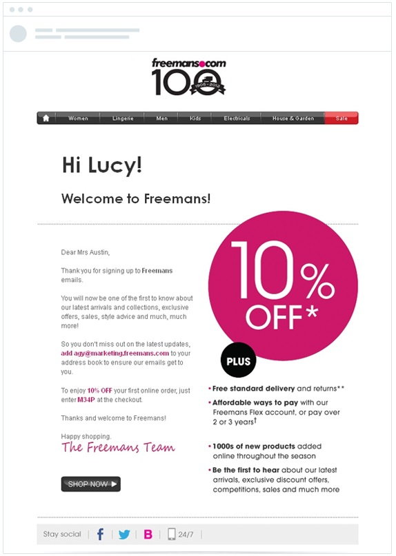 This welcome email from Freemans provides essential information.