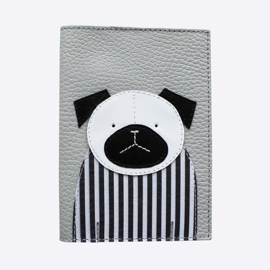 Обложка для паспорта СОБАКА серый
