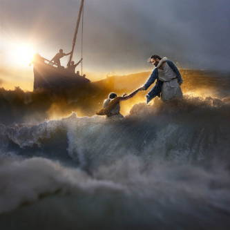 Jesus is pulling Peter from the stormy waves while the other apostles watch from their boat.