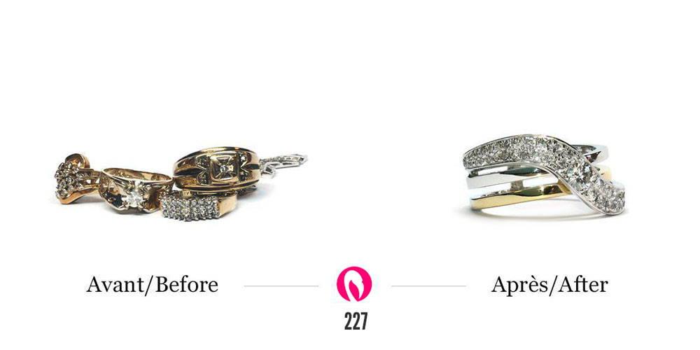 Récupération de bijoux d'héritage famillial en une bague avec pavé de diamant