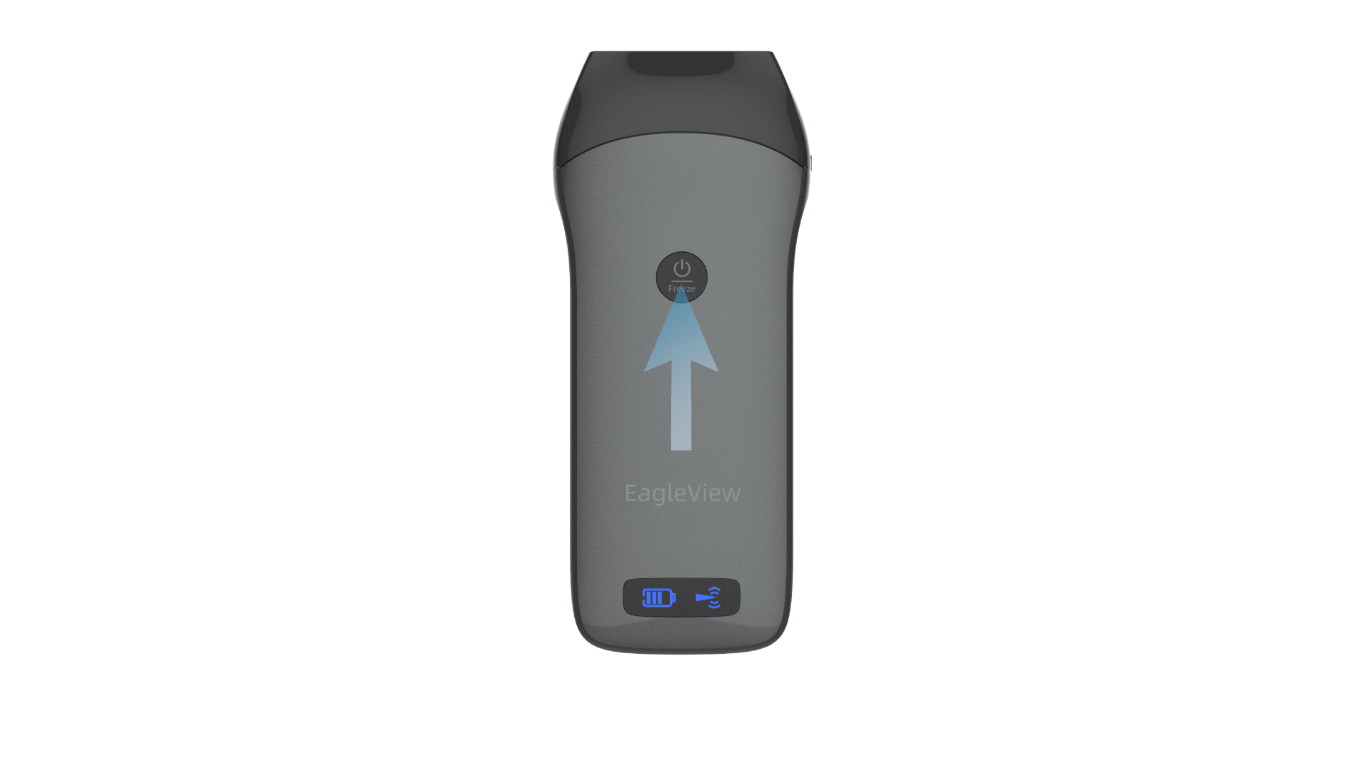 Start the Eagleview ultrasound by pressing the power button in the center.