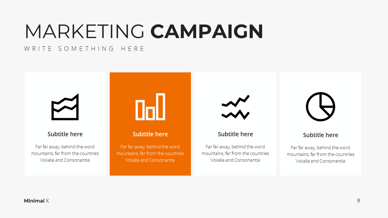 Minimal X  Marketing Plan Presentation Template Marketing Campaign