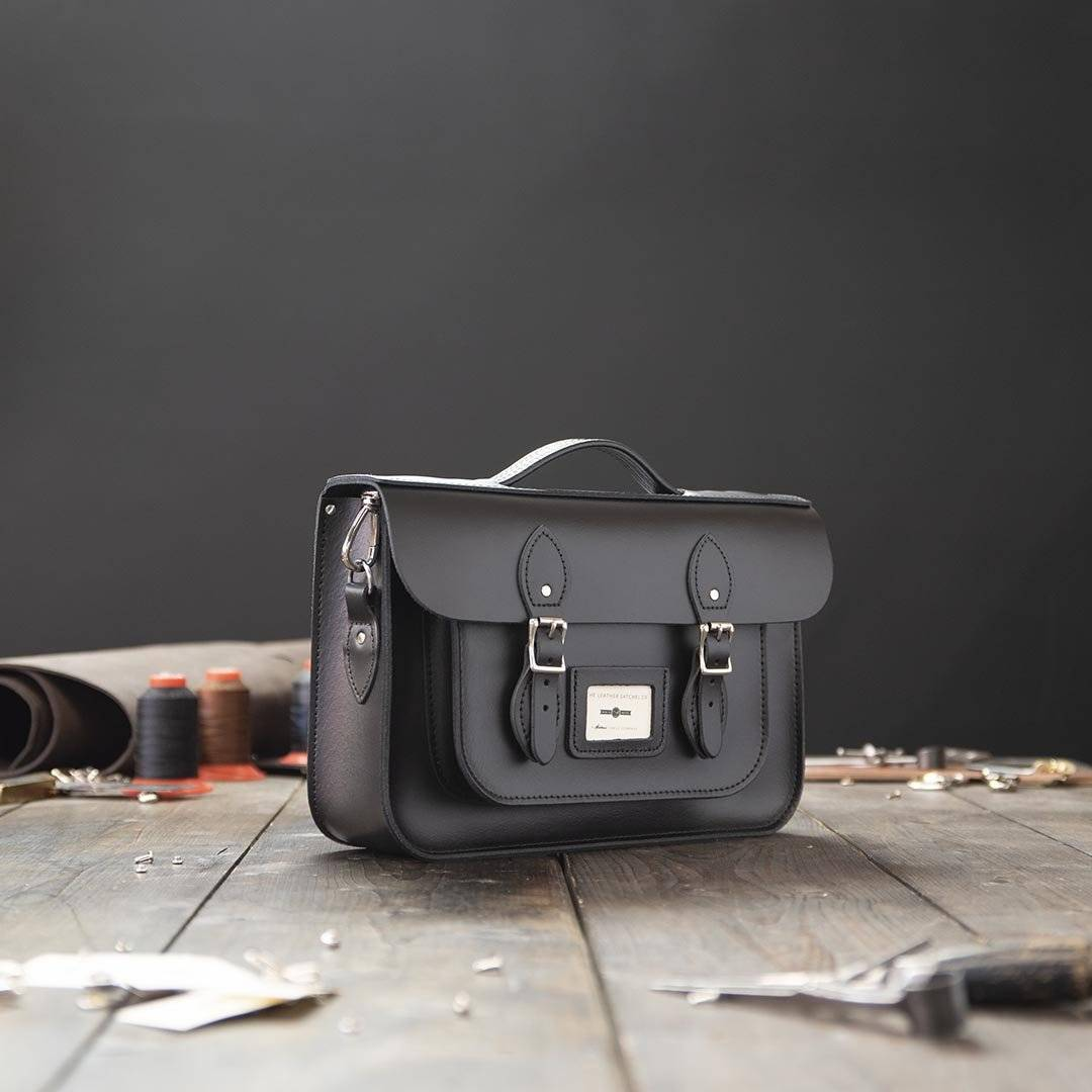 Black 14 inch Leather Work Bag