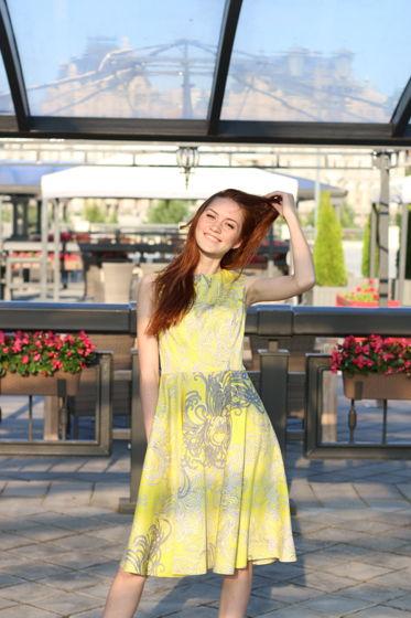 """Платье с юбкой-солнце """"Хризантемы"""""""