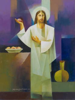 Modern painting of Jesus holding a roll of bread and teaching.