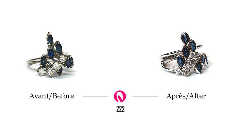transformation bague vintage avec diamants et saphirs