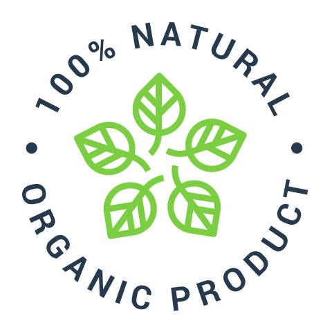 100% natural and organic product icon