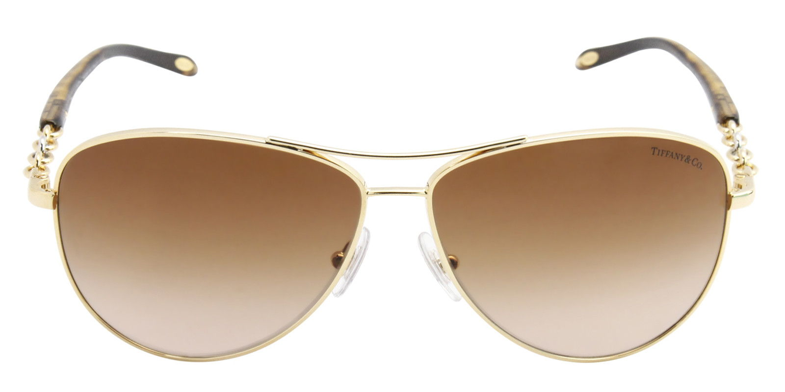 TIFFANY WOMEN'S TF3034 GOLD  BROWN LENS SUNGLASSES (front)