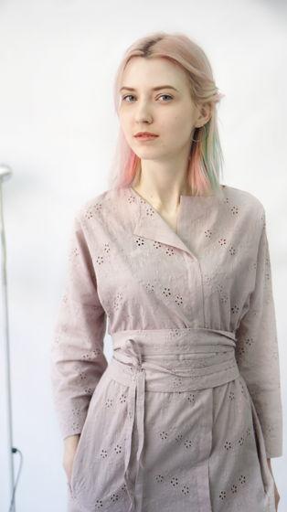 платье Кимоно короткое | розовый