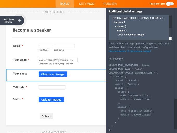 Customizing JotForm with Uploadcare File Uploader