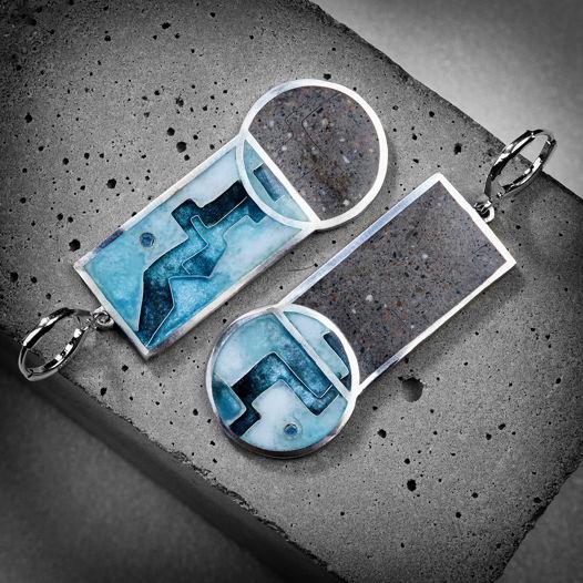 Легкие серьги с горячей эмалью и бетоном