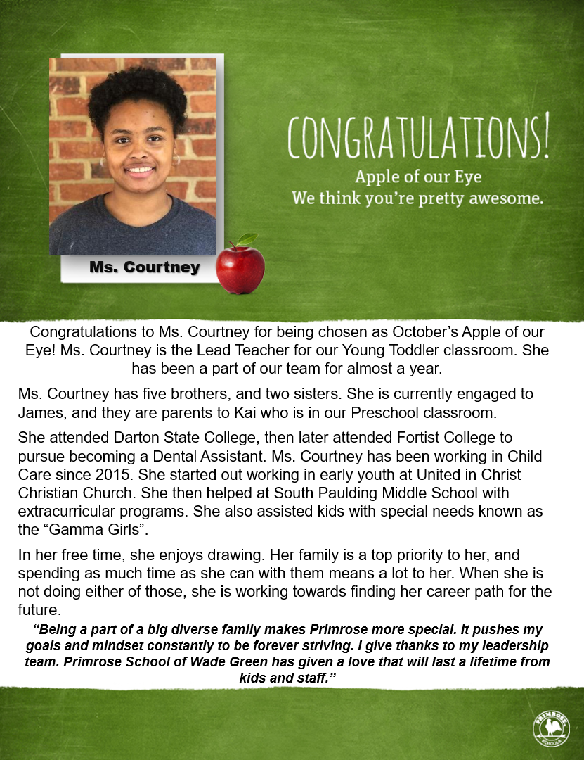 Congratulations to Ms. Courtney for being nominated as October's Apple of Our Eye!