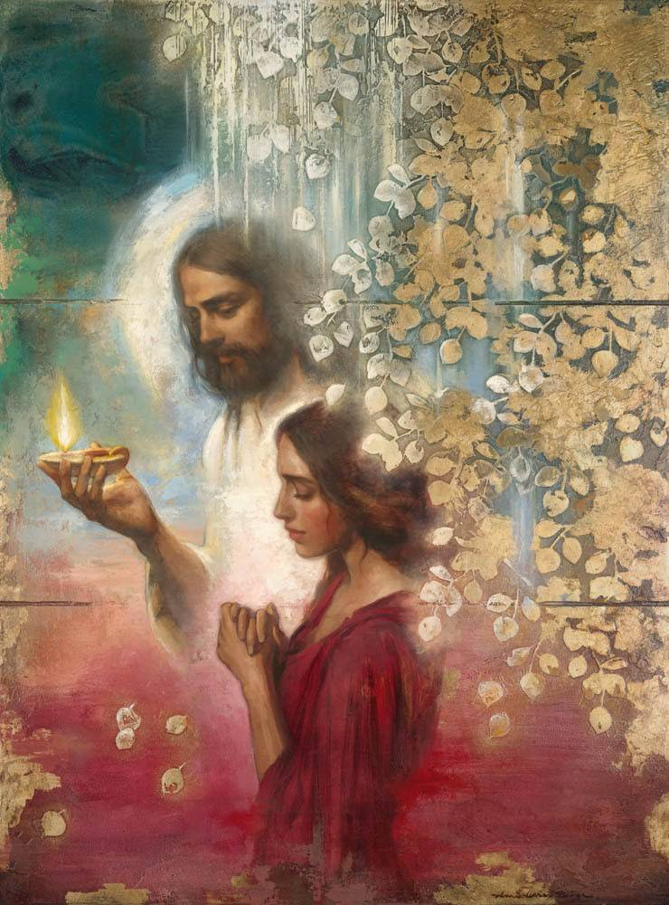 LDS art painting of Christ holding lamp and leading praying young woman.