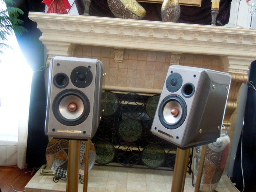 "Custom Made Seas/Usher  6 1/2"" 2way bookshelf speakers with stands"