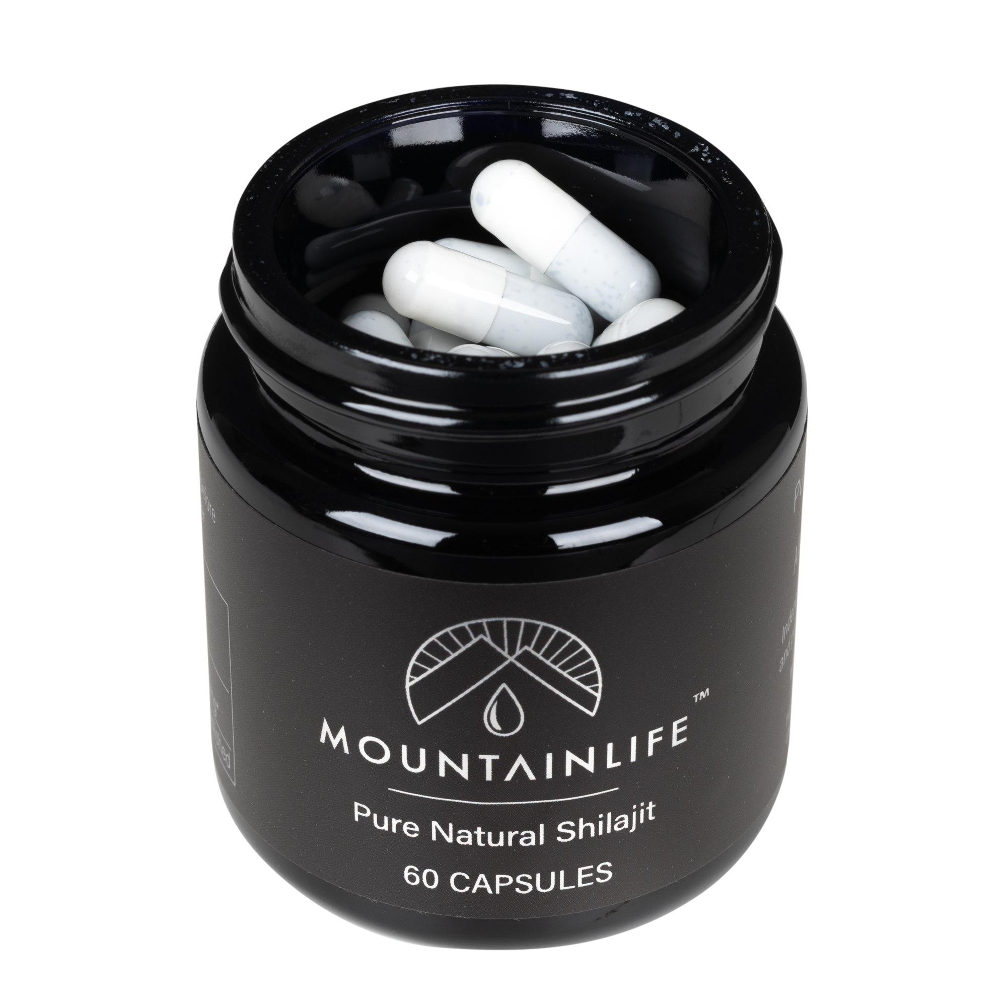 Mountainlife Natural Shilajit 60 capsules in UV glass jar showing the capsules inside